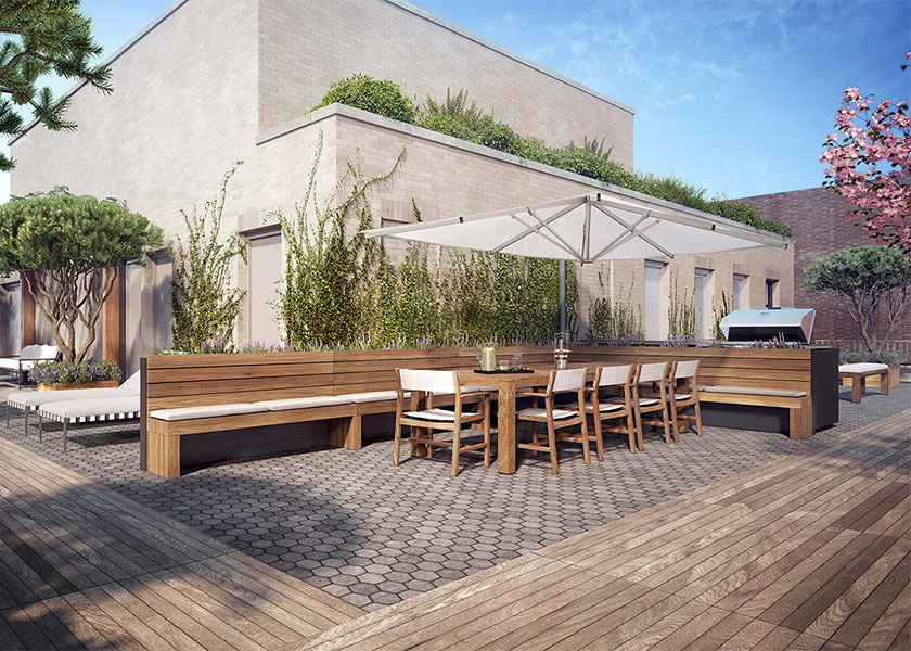 Architectural Rendering of the terrace of the 207 West and 79th Street project located on Manhattan's Upper West Side, New York City