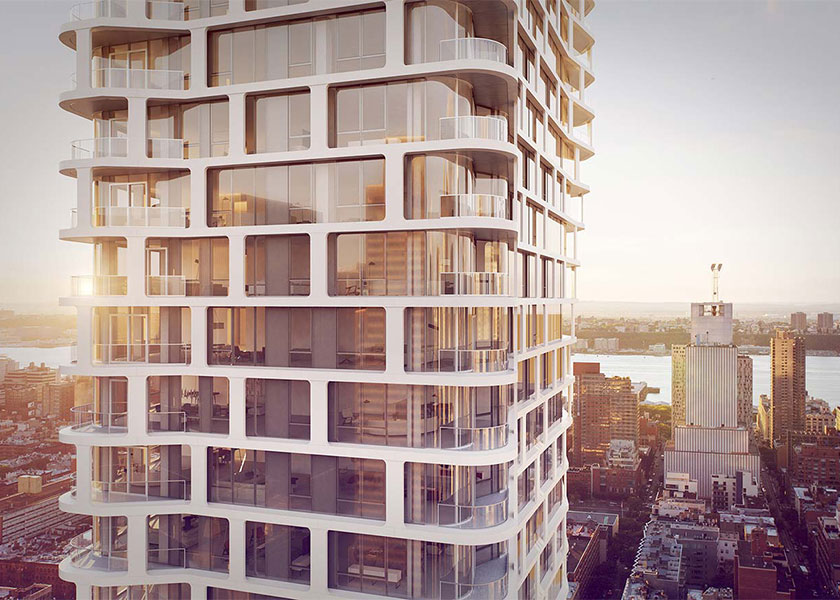 Architectural Rendering of the exterior of the 242 West and 53rd Street project located in Midtown, New York City