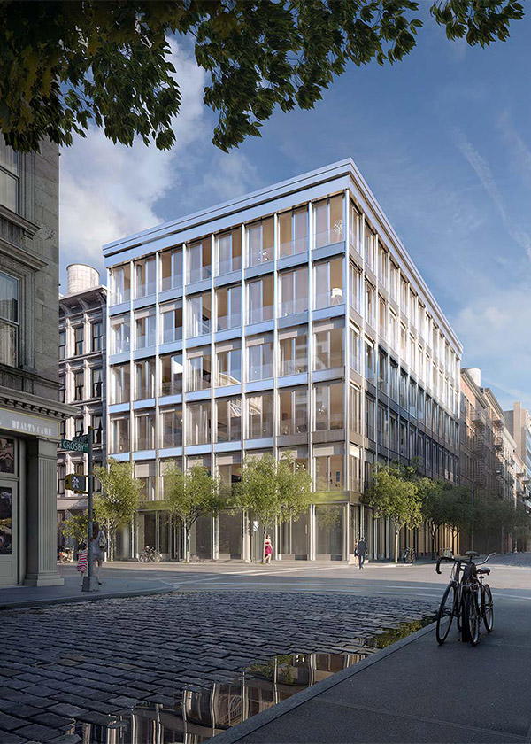 Architectural Rendering of the exterior of the 42 Crosby Street project located in Soho, New York City