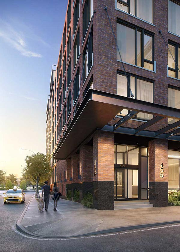 Architectural Rendering of the exterior of the 456 Washington Street project located in Tribeca, New York City