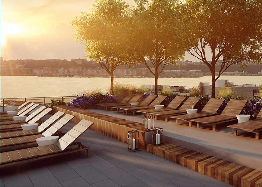 Architectural Rendering of the terrace of the 535 West and 43rd Street project located in Hell's Kitchen, New York City