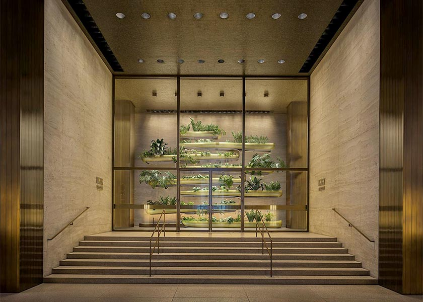 """Architectural Rendering of the """"Canoes"""" permanent exhibition from Paula Hayes at the Seagram Building in New York City"""
