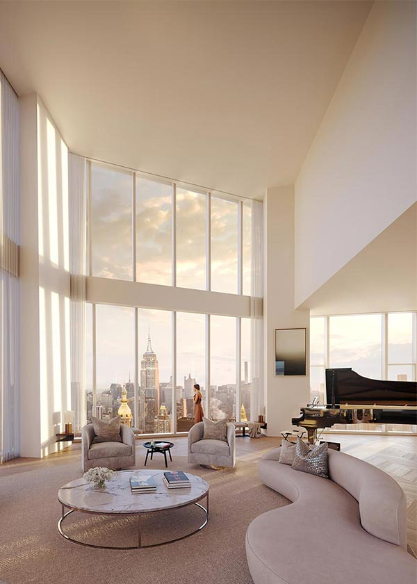 Architectural Rendering of the interior of the Madison Square Park Tower's Penthouse project located in New York City