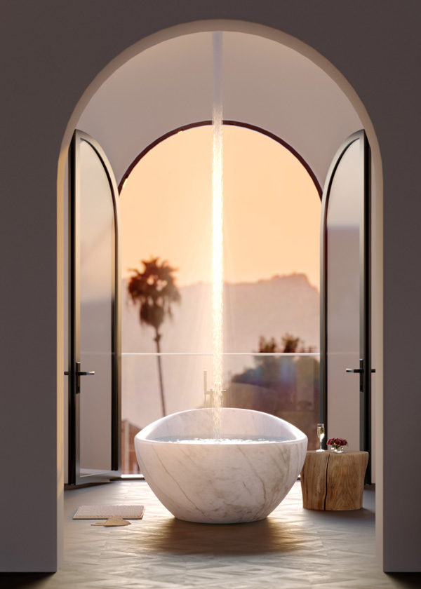 Architectural Rendering of the bathroom of the 10697 Somma Way project located in Los Angeles, California