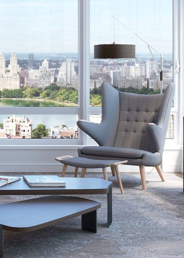 Architectural Rendering of the living room of The Easton project located on the Upper East Side, New York City